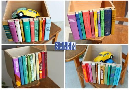 vintage books storage handmade